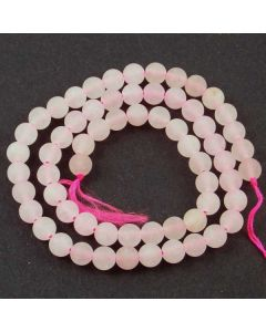 Rose Quartz 6mm FROSTED Round Beads