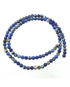 Impression Jasper (Dyed Royal Blue) 4mm Round Beads