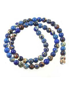 Impression Jasper (Dyed Royal Blue) 6mm Round Beads
