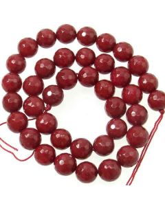 Jade (Ruby) Dyed 10mm Faceted Round Beads