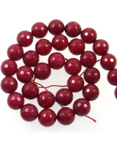 Jade (Ruby) Dyed 12mm Faceted Round Beads