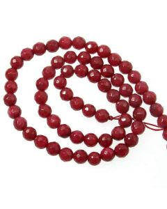 Jade (Ruby) Dyed 6mm Faceted Round Beads