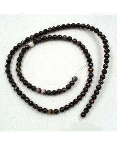 Black Sardonyx 4mm Round Beads