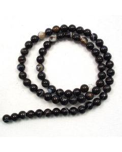 Black Sardonyx 6mm Round Beads