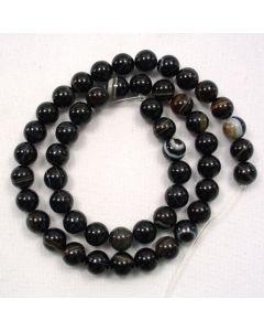 Black Sardonyx 7.5-8mm Round Beads