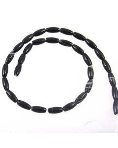 Black Sardonyx 6x12mm Rice Beads