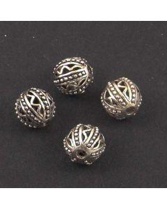 Tibetan 11mm Bead  (Pack 4) Silver Finish