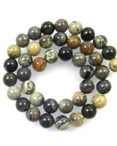 Silver Leaf Jasper 10mm Round Beads