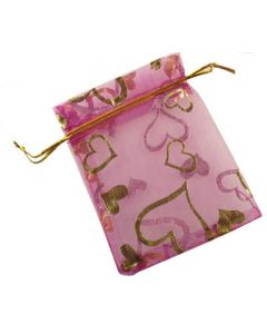 Organza Bags - Small Cerise with Gold Heart (Pack of Ten)