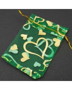 Organza Bags - Small Emerald Green with Gold Heart (Pack of Ten)