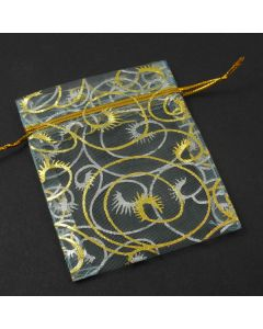 Organza Bags - Small light Turquoise with Gold Scroll (Pack of Ten)