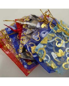 Organza Bags - Small Black with Gold Scroll Pattern (Pack of Ten)