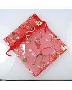 Organza Bags - Small Red with Gold Heart (Pack of Ten)