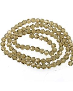 Smoky Quartz Faceted Glass Beads 6mm ROUND (approx 100 beads)