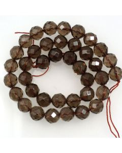 Smoky Quartz 10mm Faceted Round Beads