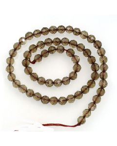 Smoky Quartz 6mm Faceted Round Beads