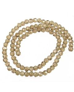 Smoky Quartz Faceted Glass Beads 4mm ROUND (approx 100 beads)