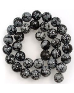 Snowflake Obsidian 12mm Round Beads
