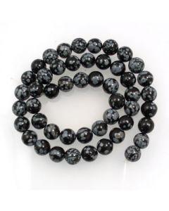 Snowflake Obsidian 8mm Round Beads