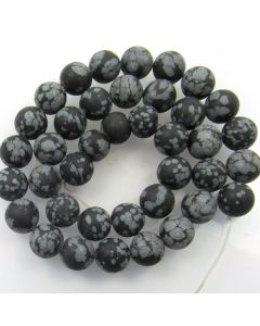 Snowflake Obsidian 10mm FROSTED Round Beads