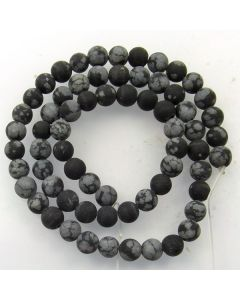 Snowflake Obsidian 6mm FROSTED Round Beads