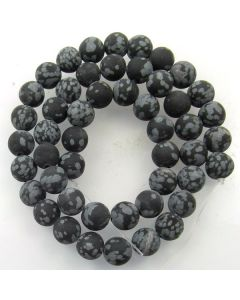 Snowflake Obsidian 8mm FROSTED Round Beads