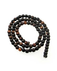 Tiger Kamagong approx. 5mm Round Beads
