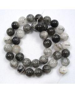 Tourmalinated Quartz 9.5-10.5mm Round Beads
