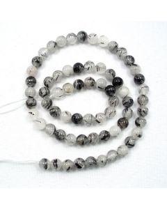 Tourmalinated Quartz 6-6.5mm Round Beads