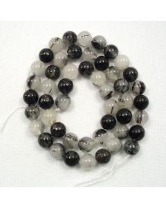 Tourmalinated Quartz 7.5-8-5mm Round Beads
