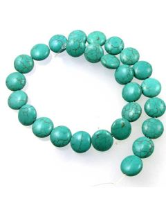 Turquoise (Reconstituted) 14mm Coin Beads