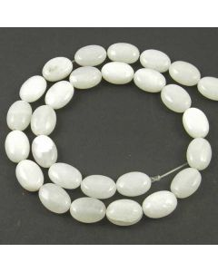 White Jade 10x14mm Oval Beads