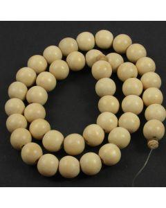 Natural White Wood 10mm Round Beads